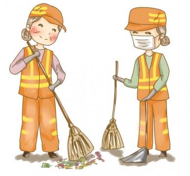 手绘卡通风格正在打扫卫生的环卫工人清洁工图片免抠素材