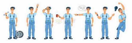 各种动作的卡通维修工人png图片免抠矢量素材