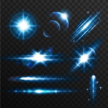 各种蓝色星光光晕光线效果图片免抠矢量图素材