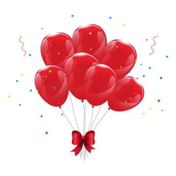 一束红色气球蝴蝶结捆绑在一起喜庆装饰图片免抠素材