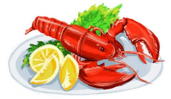 手绘风格澳洲大龙虾美味海鲜美食图片免抠素材