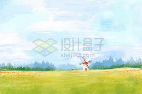 黄绿色的草原农田农村乡村风景水彩插画png图片素材