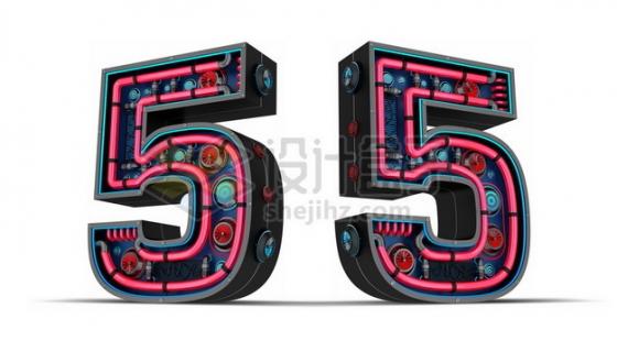 C4D风格红黑色3D立体数字五5艺术字体818074psd/png图片素材