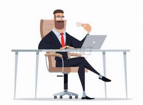 卡通老板喝着咖啡看着电脑png图片免抠矢量素材