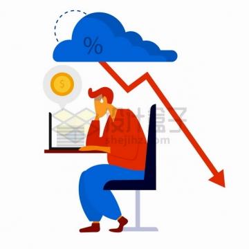 不断下跌的箭头和苦恼的商务人士破产经济危机金融危机png图片素材