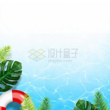 夏天的热带树叶救生圈和蓝色水面效果4343578png图片素材