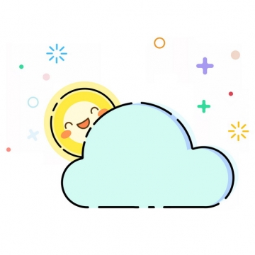卡通太阳躲在乌云后面MBE风格多云天气预报图标392896png图片素材
