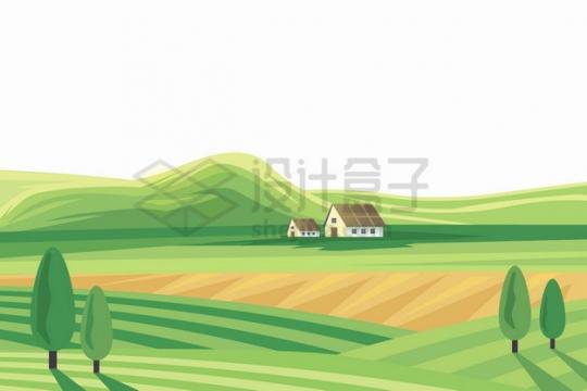 远处的山坡近处的草场草原田野农村乡村风景插画png图片素材