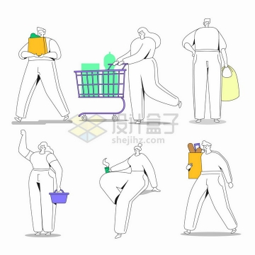 简约线条到超市采购食物的人扁平插画png图片免抠矢量素材