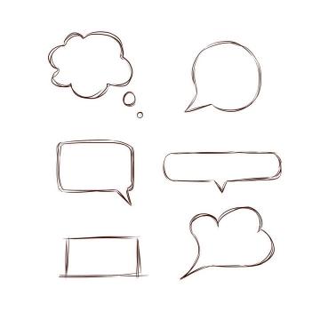 6款手绘线条风格对话框文本框图片免抠素材