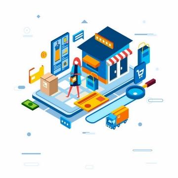 2.5D风格手机上的店铺网络购物png图片免抠eps矢量素材