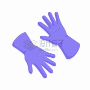 一双紫色的橡胶手套一次性医用手套png图片素材