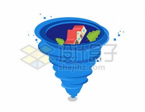 蓝色龙卷风飓风中的房子597250png矢量图片素材