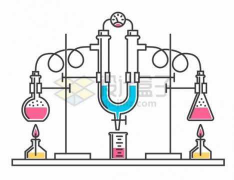 平底烧瓶酒精灯烧杯等化学实验仪器手绘线条插画png图片素材