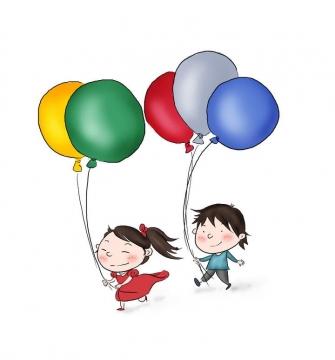 手绘卡通风格两个拿着气球的小孩玩耍图片免抠素材