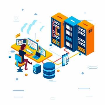 2.5D风格云计算服务在服务器后面操作电脑的程序员png图片免抠eps矢量素材