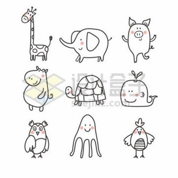 9款超可爱长颈鹿大象小猪河马乌龟鲸鱼猫头鹰章鱼等卡通动物儿童插画png图片素材