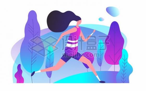 正在奔跑的女孩健身跑步扁平插画png图片免抠矢量素材