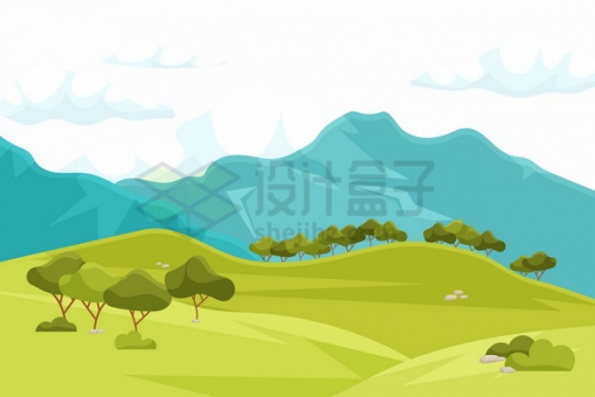 远处的高山近处的草原自然风光插画png图片素材