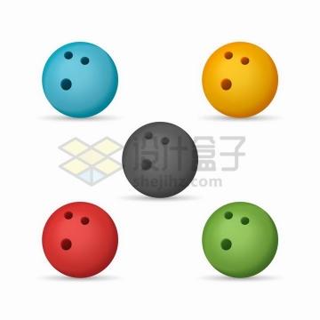 5种颜色的保龄球png图片免抠矢量素材