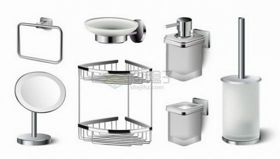 肥皂架毛巾架皮橛子马桶刷子镜子等卫生间设施png图片免抠矢量素材