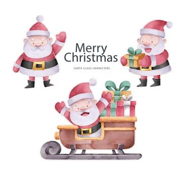 3款手绘插画风格圣诞节卡通圣诞老人图片免抠矢量素材