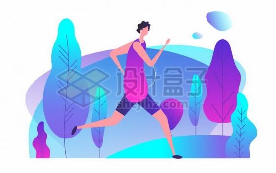 一边奔跑一边听音乐的男孩健身跑步扁平插画png图片免抠矢量素材
