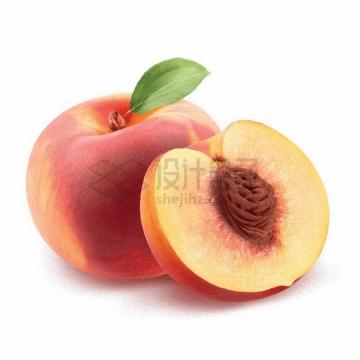 切开的新鲜桃子南汇水蜜桃png图片素材