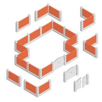 2.5D风格红色砖墙和白色大门图片免抠素材