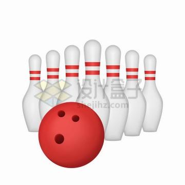 红色保龄球和一排球瓶png图片免抠矢量素材