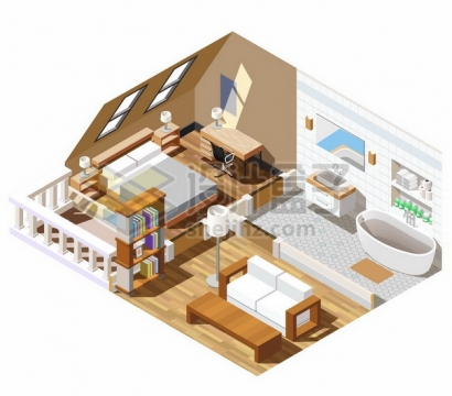 2.5D风格卡通阁楼卧室房间内部装修展示155837png矢量图片素材