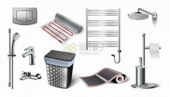 开关按钮淋浴头垃圾桶地暖卫生纸架等卫生间设施png图片免抠矢量素材