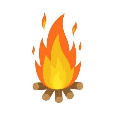 手绘风格一堆燃烧的火焰图片免抠素材