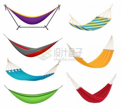 7款各种颜色的吊床png图片免抠矢量素材