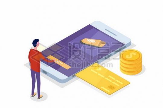 2.5D风格年轻人在手机上购物信用卡金币949145png矢量图片素材