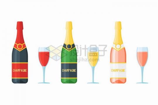 包装完好的香槟酒瓶和高脚酒杯png图片免抠矢量素材