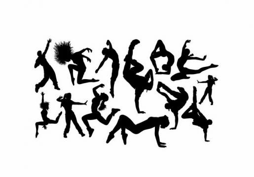 各种跳街舞跳舞的年轻人人物剪影png图片免抠矢量素材