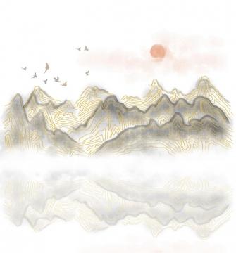 带有金丝装饰的灰色大山和落日风景图图片免抠png素材