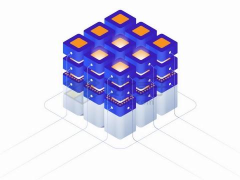 酷炫的3D立体蓝色矩阵加密货币和区块链png图片免抠矢量素材