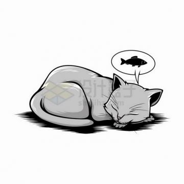 素描手绘趴在地上睡觉梦见有小鱼干的猫咪png图片免抠矢量素材