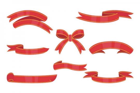 8款手绘风格红色丝带装饰图片免抠矢量素材