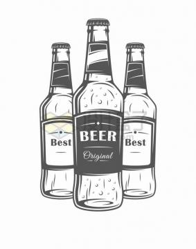 三瓶啤酒手绘漫画png图片素材