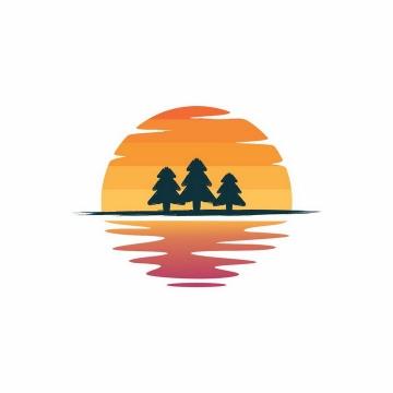 手绘风格地平线上的树林和夕阳背景图案png图片免抠eps矢量素材