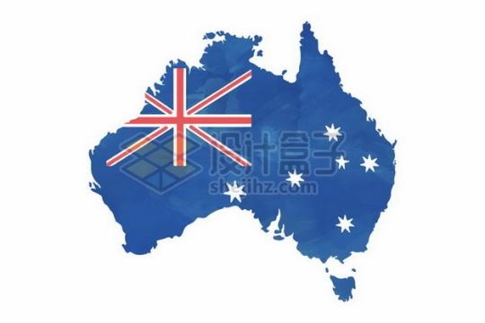 印有国旗的澳大利亚地图png图片素材