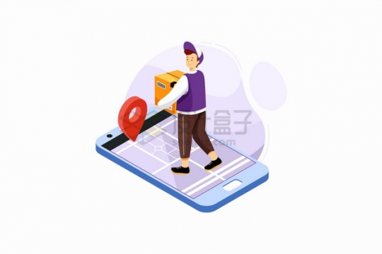 手机上快递员和定位标志送货上门服务png图片素材