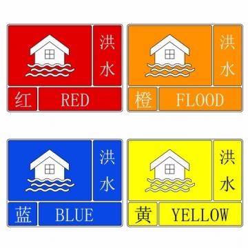 四色汛情洪水预警信号标志907366AI矢量图片素材