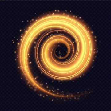 旋转螺旋状的黄色光芒效果免抠矢量图素材