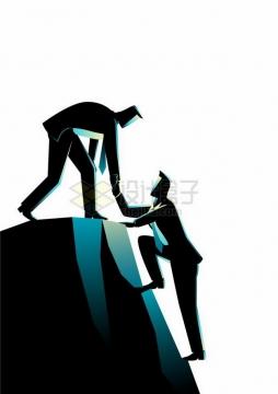 相互配合登山的商务人士象征了同事之间的合作共赢png图片免抠矢量素材