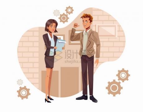 秘书正在将文件交给老板商务人士插画png图片免抠矢量素材