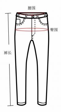 腰围裤长臀围裤子尺码对照表700038图片素材